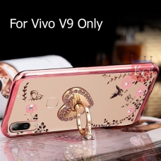 Heart Ring Stand Case with Auora Flower Crystals for Vivo V9 Back Cover Rose Gold